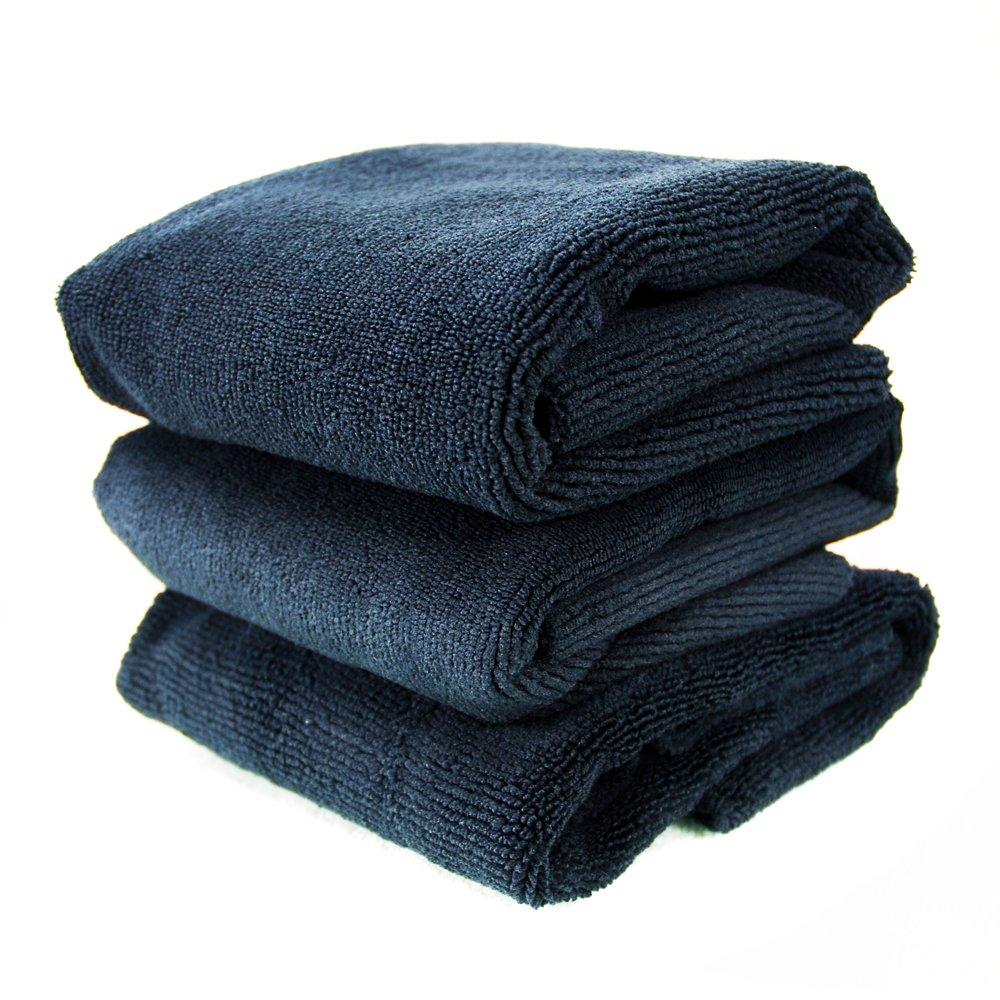 Chemical Guys MIC_805_3 Monster Edgeless Microfiber Towel, Black (16 in. x 16 in.) (Pack of 3)