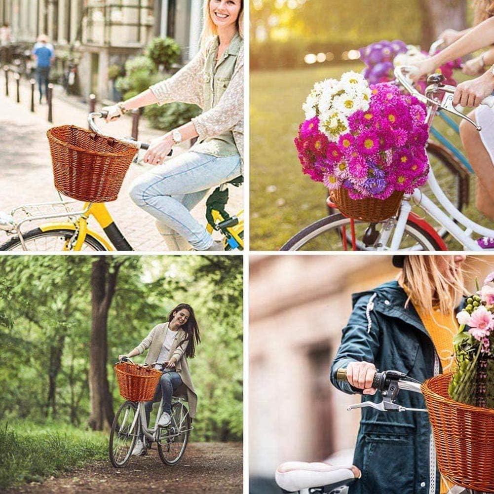 Lishiny Bike Wicker Basket Wicker D-Shaped Bike Basket Portable Hand-Woven Shopping Basket Folk Craftsmanship Bicycle Storage Basket with Leather Straps