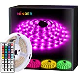 RGB LED Strip Lights MINGER Waterproof 16.4ft SMD 5050 Rope Lighting Color Changing with 44-keys IR Remote Controller…