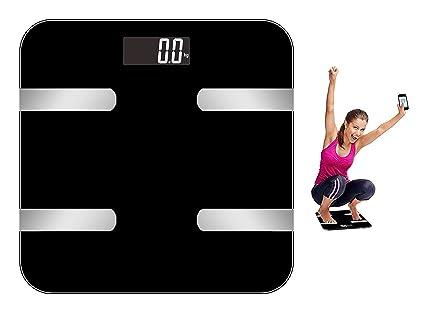Báscula digital con medición de grasa corporal Negro – Báscula digital Báscula de grasa corporal Bluetooth