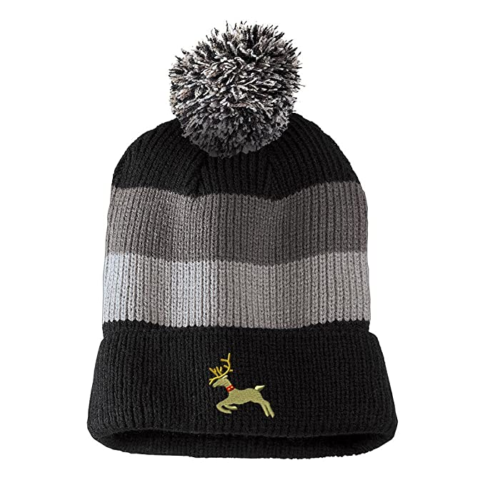 7bffbce93c7 Running Christmas Reindeer Embroidered Unisex Adult Acrylic Vintage Striped  Removable Pom Pom Beanie Winter Hat -