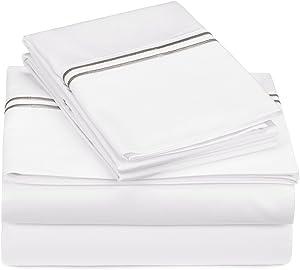 Pinzon 400-Thread-Count Egyptian Cotton Sateen Hotel Stitch Sheet Set - Queen, Silver Grey