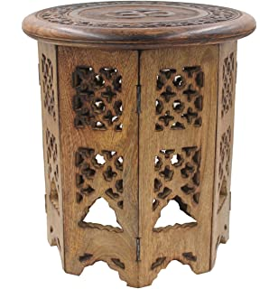 DharmaObjects Solid Mango Wood Hand Carved Prayer Puja Shrine Altar  Meditation Table Round (OM)
