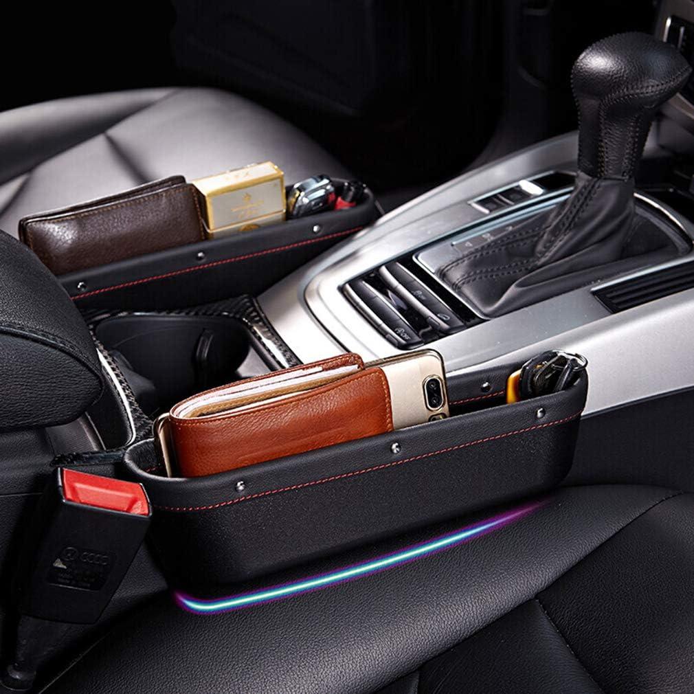 EZEYU 2 Pack Car Seat Pocket,PU Leather Gap Filler Organizer Car Console Side Storage Organizer with 2 Non-Slip Mat Multi-Functional Storage Box for Cellphone Wallet Coin Key Black