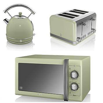 Green Swan Kitchen Appliance Retro Set 25l Large Manual Green