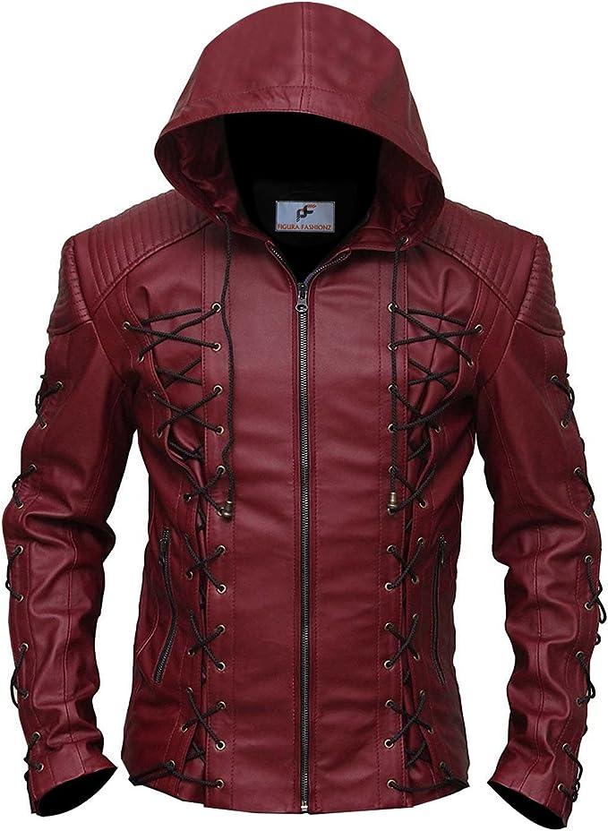 Figura Fashionz Stephen Amell Roy Harper Arrow Jacket in RED - Superhero Faux Leather Jacket