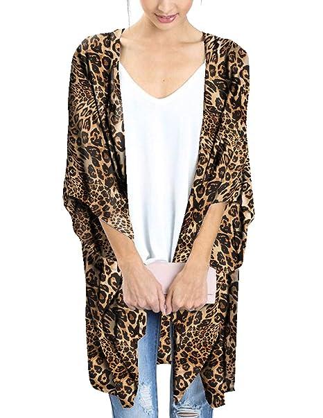 be72c55e77d77 Women's Leopard Cardigan Boho Chiffon Sheer Loose Floral Kimono Coverups  Capes Shawl Tops (Small)
