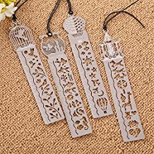 Tiptiper 4PCS Delicate Stainless Steel Hollow Out Reading Novelty Stationery BookMark As Ruler DIY Drawing Funny Present