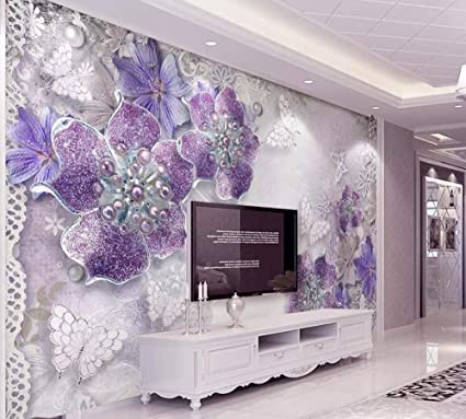 Wallpaper 3D Mural European Ornate Purple Flowers Wall ...