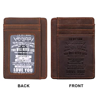 Men S Engraved Leather Front Pocket Wallet To My Son I Want You To