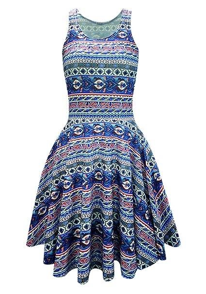 Ninimour-molde para hacer Aztec Fashion de galletas de sin mangas para mujer de color verde tigre volantes Midi Hemline vestido de faldas: Amazon.es: Ropa y ...