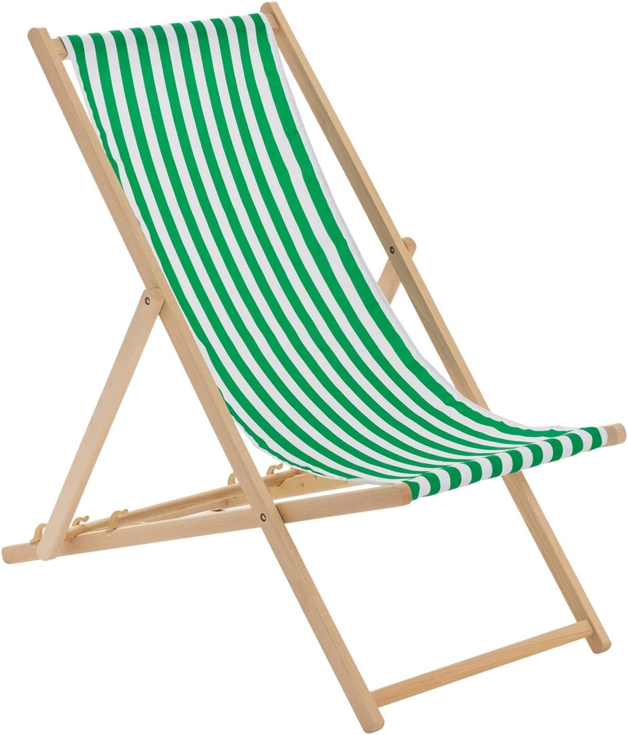 Harbour Housewares Traditional Adjustable Garden/Beach-style Deck Chair -  Green/White Stripe