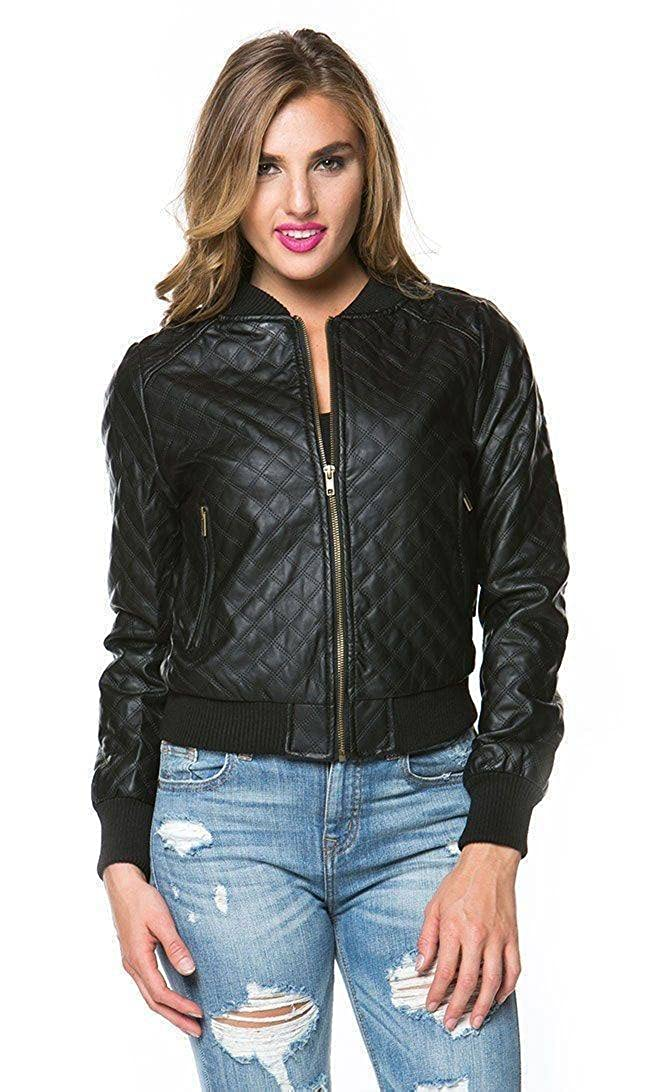 SOHO GLAM Quilted Faux Leather PU Bomber Jacket in Black Sohogirl.com VQLTDBMBRBLK