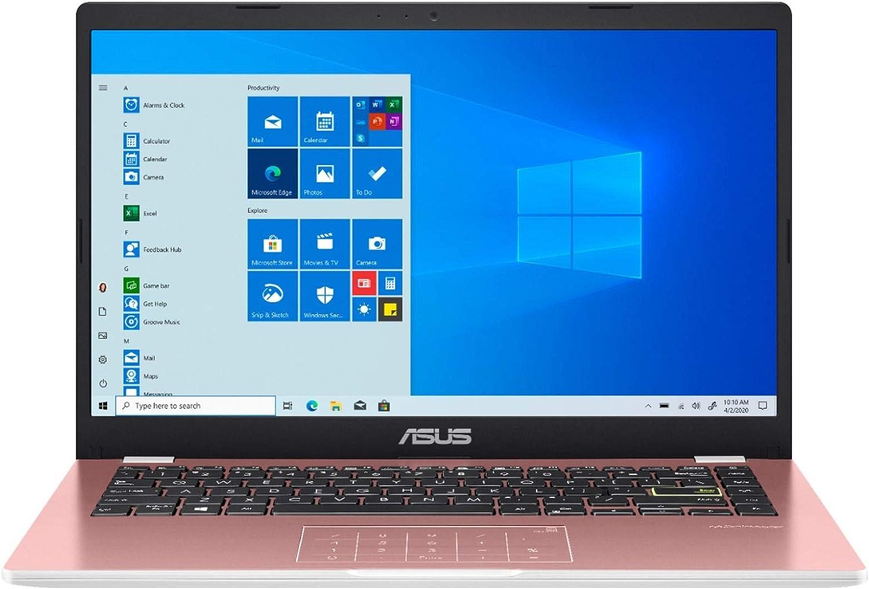ASUS E410 Intel Celeron N4020 4GB 128GB eMMC 14-inch HD LED Win 10 Laptop (Pink)
