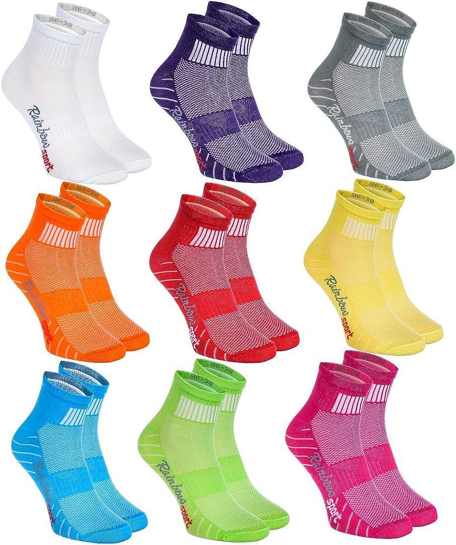 Rainbow Socks - Hombre Mujer Calcetines Deporte Colores de Algodón - Pares - - Talla