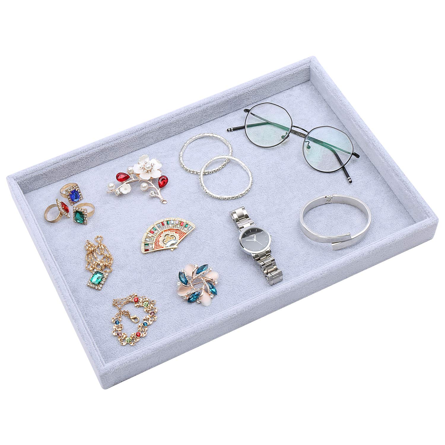 Velvet Jewelry Tray Stackable for Rings Earrings Necklaces Watches Buttons