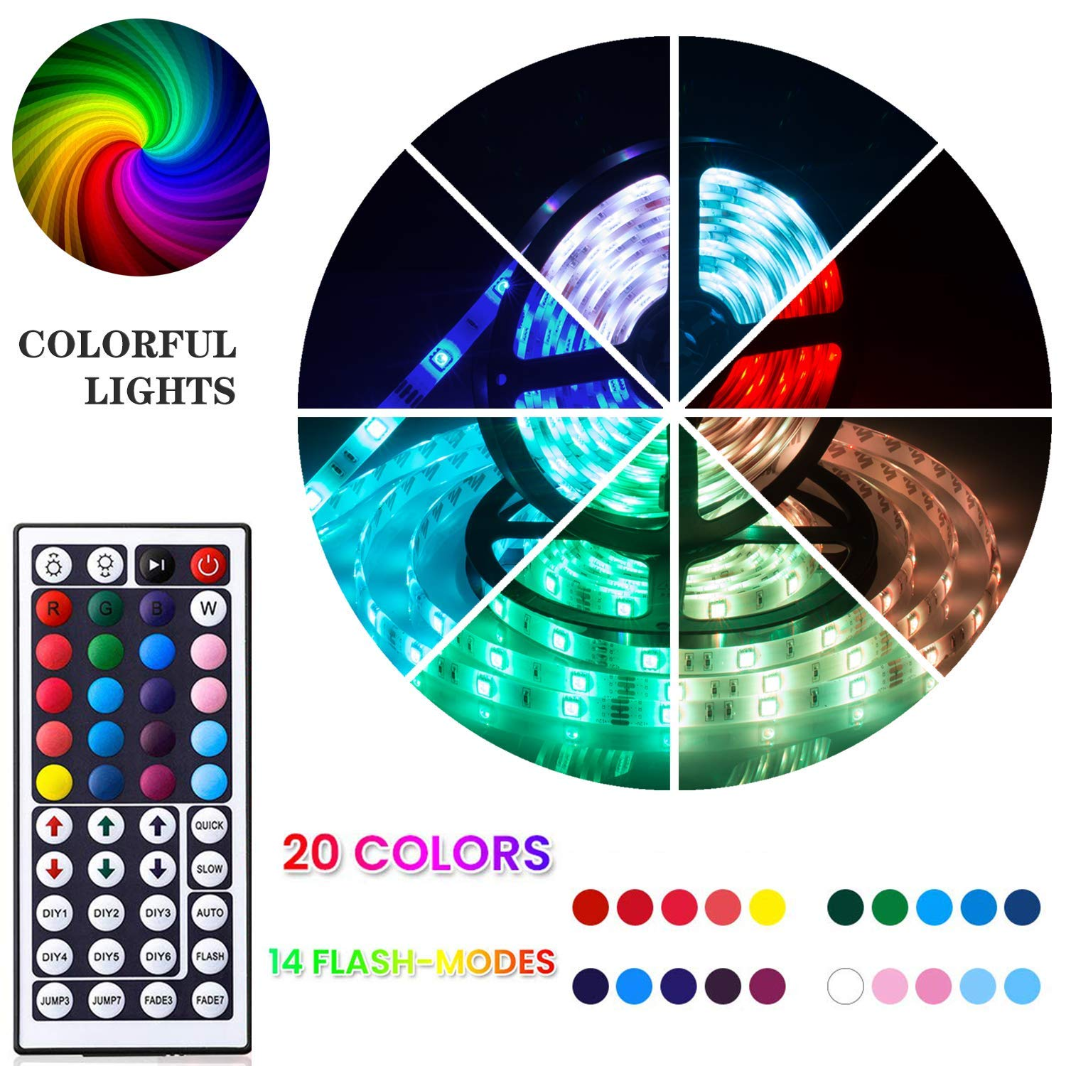 UTTORA LED Strips Lights, 10M 300LEDs 5050 RGB Colour Changing Lighting Strip, DIY LED Lights with 44-Keys Remote Control Decoration for Garden Living Room Party Wedding