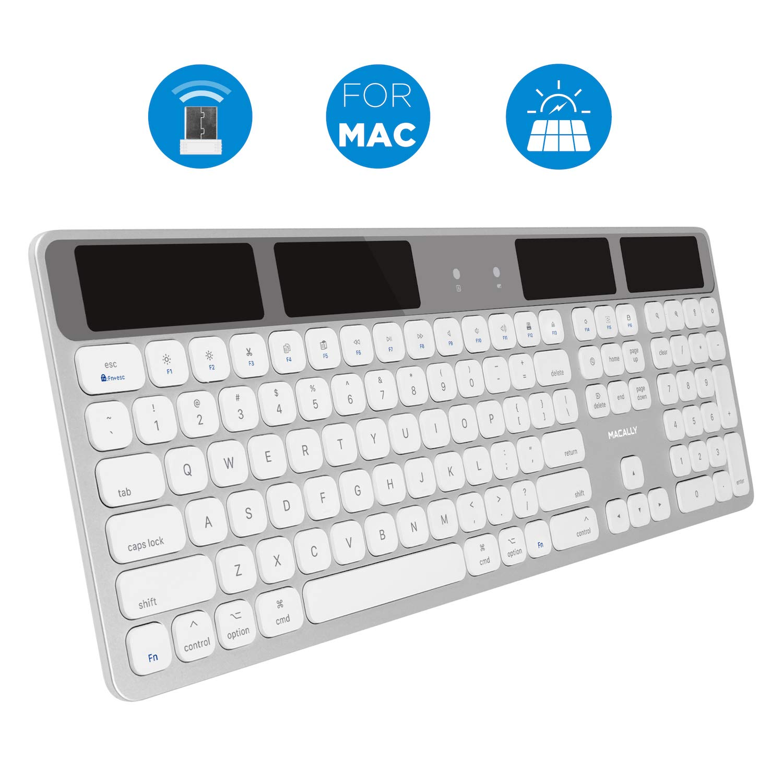 Macally Wireless Solar Keyboard for Mac Mini/Pro, iMac Desktop Computers & Apple MacBook Pro/Air Laptops | 2.4 Ghz RF USB Dongle | Caps Lock/Battery Indicators - Silver Aluminum, Gray