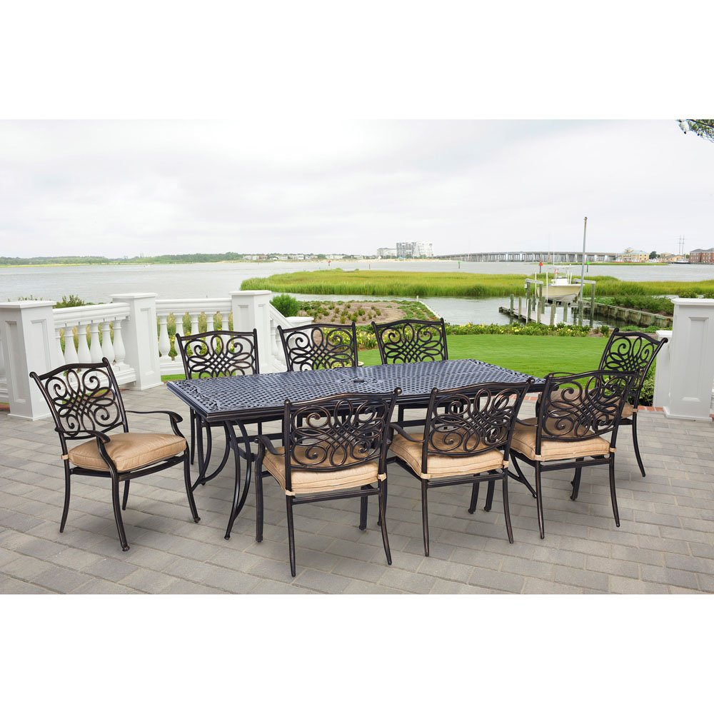 Hanover TRADDN9PC Traditions 9-Piece Aluminum Rust-Free Outdoor Patio Dining Set with 8 Dining Chairs, Natural Oat Tan Cushions and Cast-Top Rectangular Table