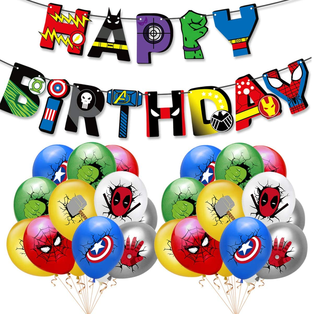 Superhero birthday banners, superhero balloons, superhero birthday party decorations