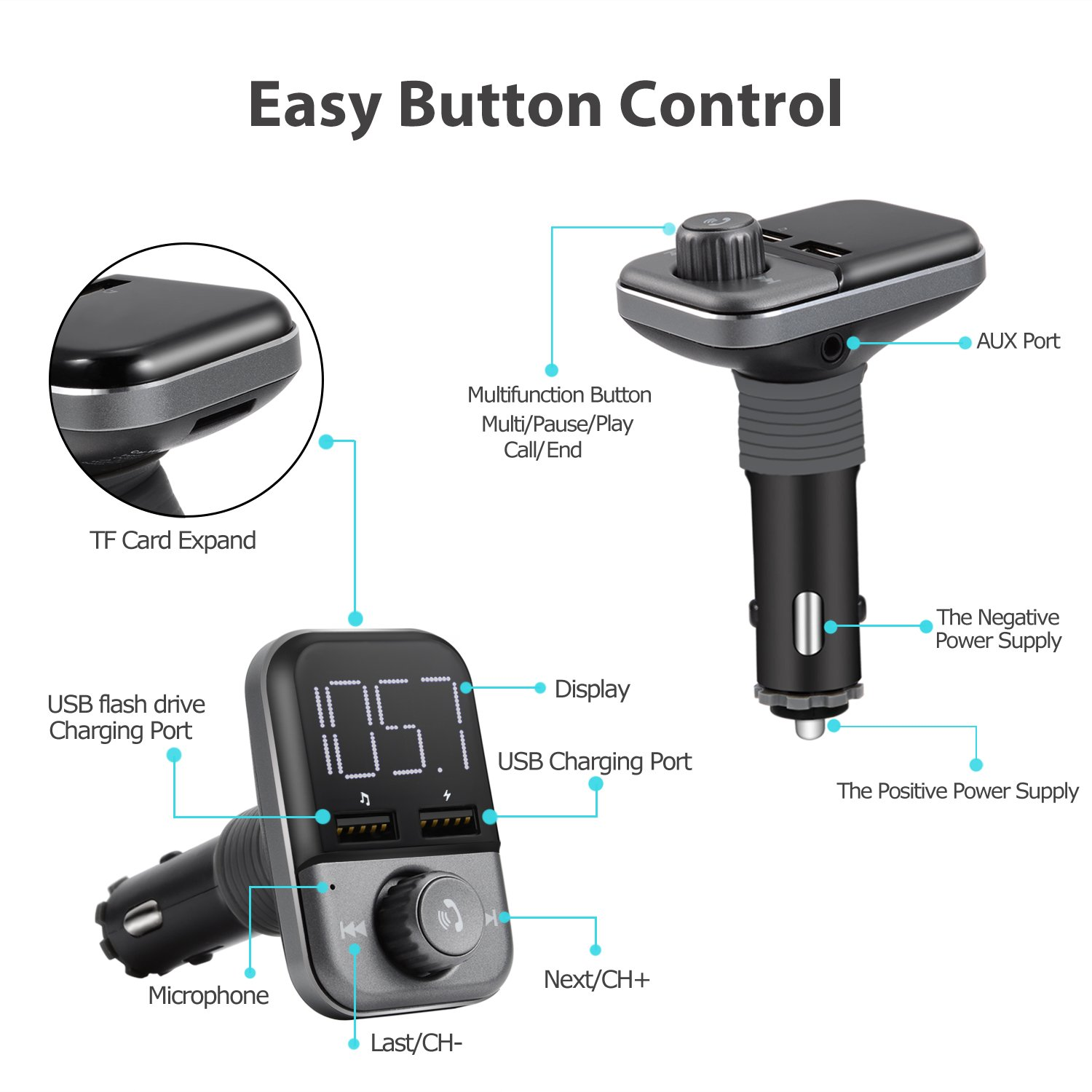 FM Transmitter Bluetooth 4.2 Wireless in-Car Radio FM Transmitter Kit Adapter W 1.4?¡À Display 2.4A Dual USB Car Charger Support TF/SD Card USB Flash Drive AUX Input/Output Car Audio by JMFONE (Image #6)