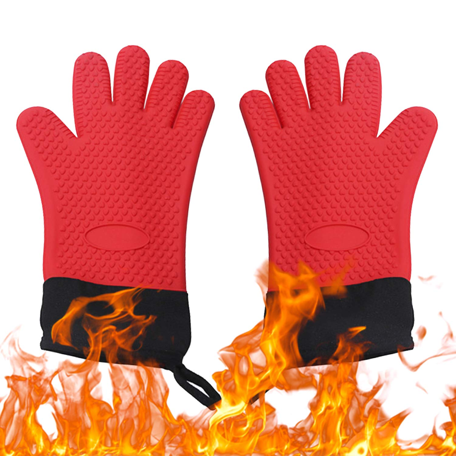 Y-LIFE Silicone Oven Mitts with Heat-Resistant and Double Thickening, Silicone Non Slip Texture Oven Mitts, Professional Heat Resistant Kitchen Cooking Mitts, Red, Set of 2