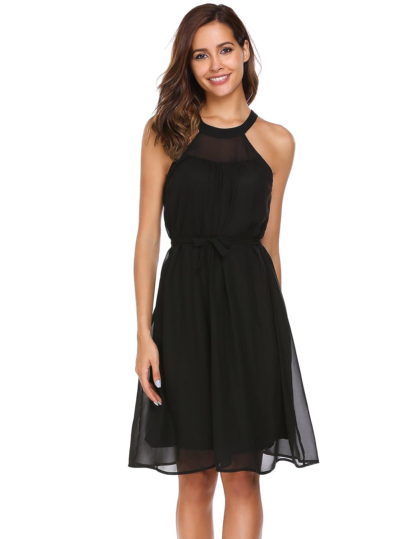 ACEVOG Damen Sommer Elegante Ärmellose Kleider Neckholder Knielang Chiffonkleid Abendkleider Partykleider mit Abnehmbarem Gürtel