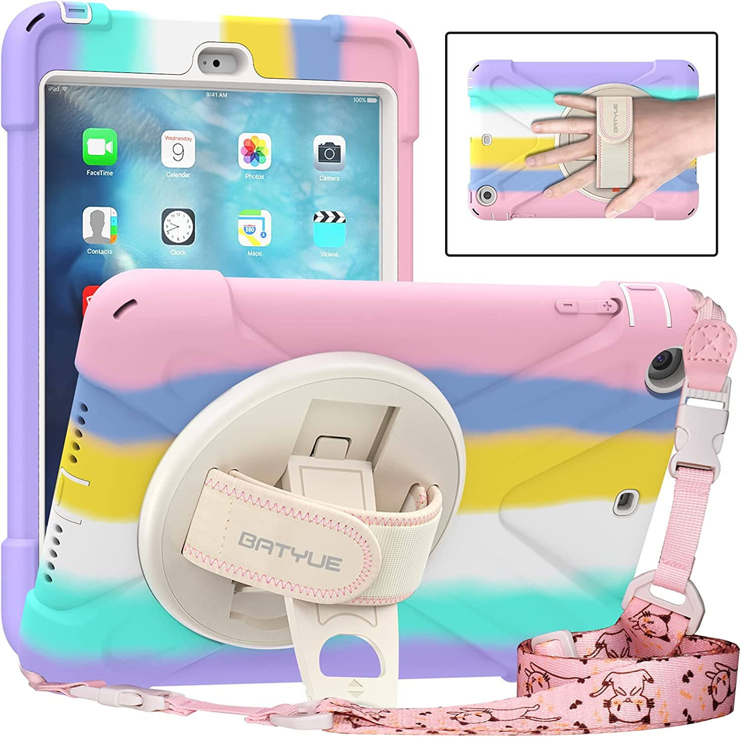 BATYUE iPad Mini 3/2/1 Case, Shockproof Protective Rugged Case with Pencil Holder & Hand Strap & Kickstand & Shoulder Strap for iPad Mini 3rd/2nd/1st Generation,7.9 Inch cover for Kids(Colourful Pink)