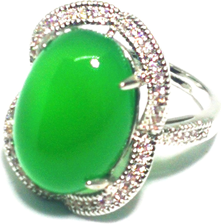 Yigedan - Anillo de plata con ágata de jade verde natural para mujer, tamaño ajustable