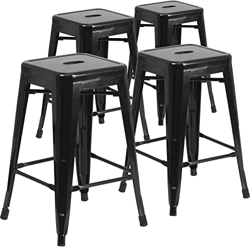 IntimaTe WM Heart Bar Stools 24 Inch Backless Bar Chairs Counter Stools Metal Bar Stool Tolix Style 24 inch Kitchen Stools Set of 4 Black