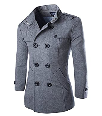 neues Konzept e425c 8014a Largeshop Wollmantel Herren Zweireiher Mantel Kurz Slim Fit Warm Herbst  Übergangs Cabanjacke Peacoat Wintermantel