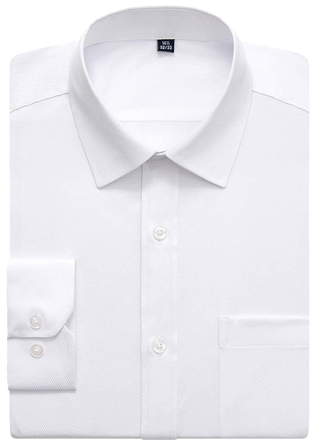 208eb28221e7 Amazon.com: J.VER Men's Business Dress Shirts Regular Fit Solid Color Long  Sleeve Spread Collar: Clothing