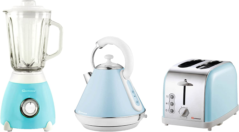 Hervidor eléctrico, tostador y licuadora, acero inoxidable - Azul ...