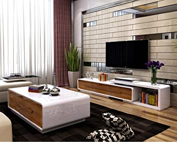 Ospi White Gloss Extendable Living Room Furniture Sets Tv Stand Coffee Table With