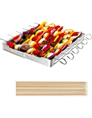 """Unicook Heavy Duty Stainless Steel Barbecue Skewer Shish Kabob Set, 6pcs 13""""L Skewer and Foldable Grill Rack Set, Durable and Reusable, Bonus of 50pcs 12.5""""L Bamboo Skewers for Party and Camping"""