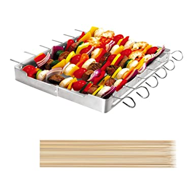 "UNICOOK Heavy Duty Stainless Steel Barbecue Skewer Shish Kabob Set, 6pcs 13""L Skewer and Foldable Grill Rack Set, Durable and Reusable, Bonus of 50pcs 12.5""L Bamboo Skewers for Party and Cookout"