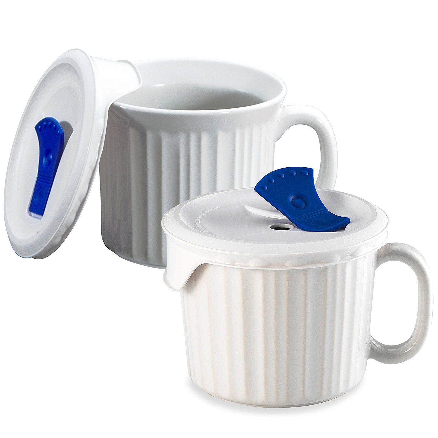 Corningware 20-Ounce Oven Safe Meal Mug with Vented Lid, White, Pack of 2