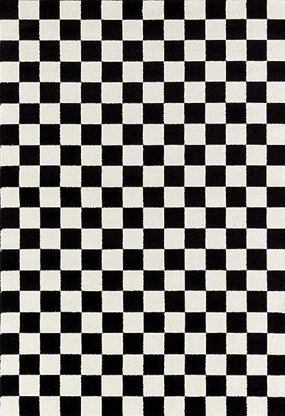 64ba3754526bd4 Amazon.com  Persian-Rugs 8x10 1909 Checkered Black and White 8 x 10 ...