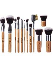EmaxDesign 12 Pieces Makeup Brush Set Professional Bamboo Handle Premium Synthetic Kabuki Foundation Blending Blush Concealer Eye Face Liquid Powder Cream Cosmetics Brushes Kit With Bag