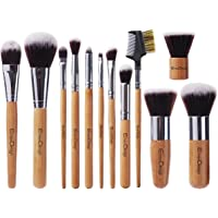 12-Pieces EmaxDesign Professional Bamboo Handle Makeup Brush Set