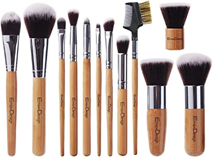EmaxDesign Juego de brochas de maquillaje (12 piezas, mango de bambú, estuche) : Amazon.es: Belleza