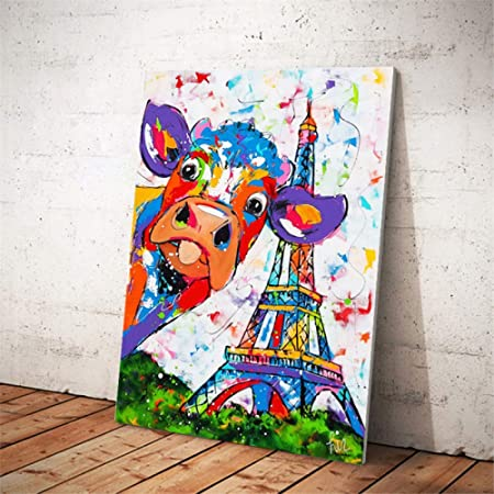 RTCKF Acuarela Abstracta Vaca Torre Eiffel Cartel e ...