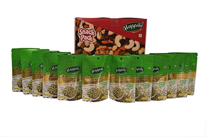 HappiloPremium Lightly Salted and Roasted Pumpkin Seeds, 35g (Pack of 12)