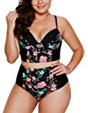 Dearlove Women's Plus Size Floral Push up High Waist Bikini Set Swimsuit