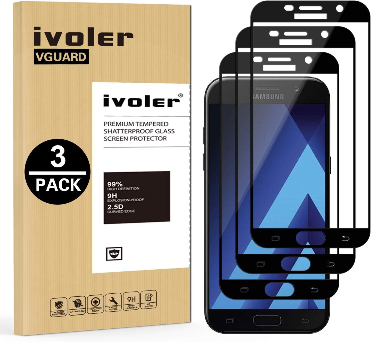ivoler [3 Unidades] Protector de Pantalla Compatible con Samsung Galaxy A5 2017, [Cobertura Completa] Cristal Vidrio Templado Premium, [Dureza 9H] [Anti-Arañazos] [Sin Burbujas]