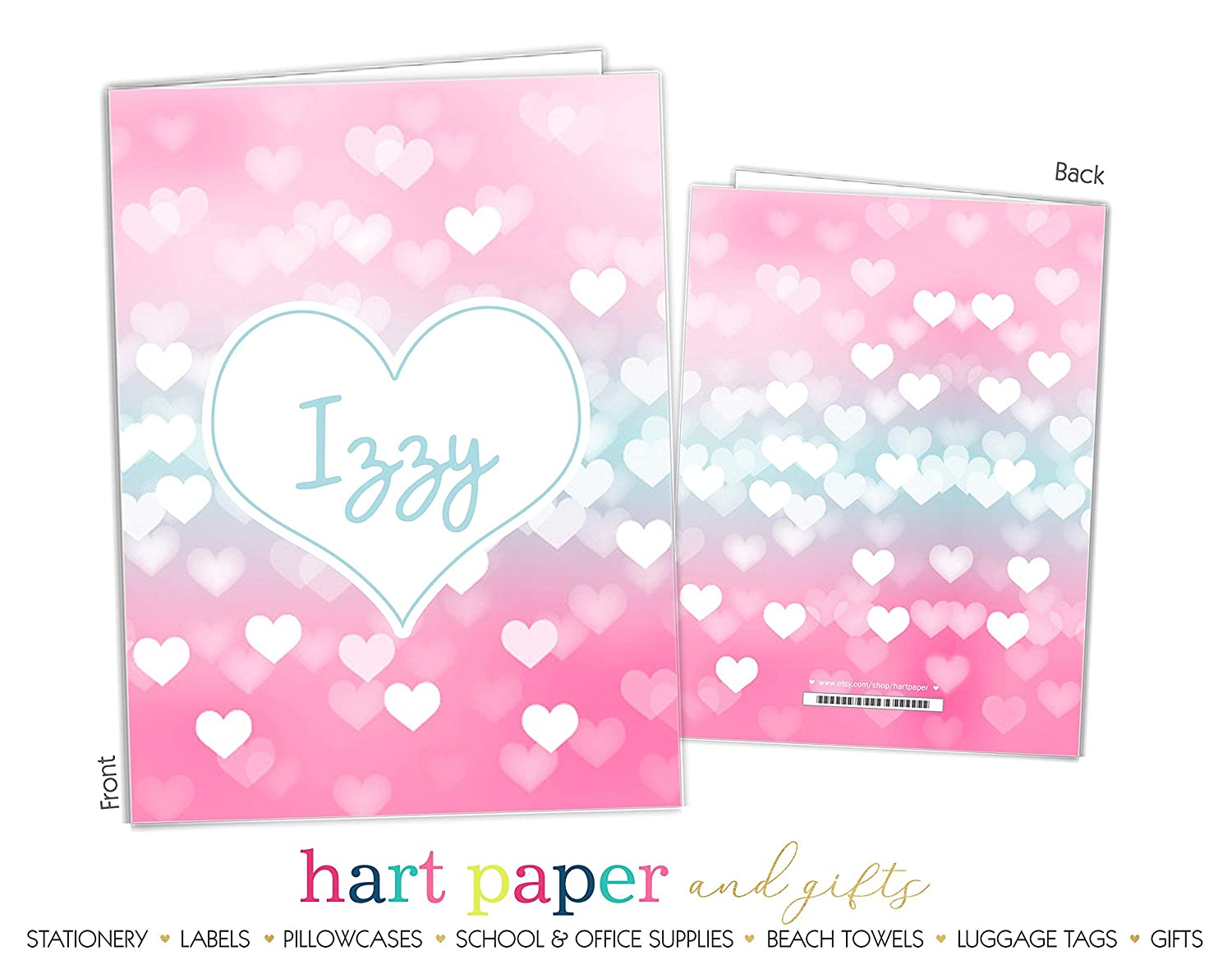 Pink Teal Heart Sparkles 2 Pocket Folder Gift Name Back to School Supplies Teacher Office Birthday Girl Boy Adult Kids Custom Personalized Custom
