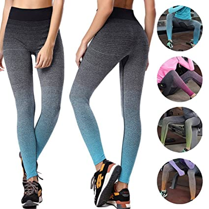 5a4880a3d78 CROSS1946 Women s Striped Yoga Pants Gradient Leggings Gym Workout Quick  Drying Capris Grey S