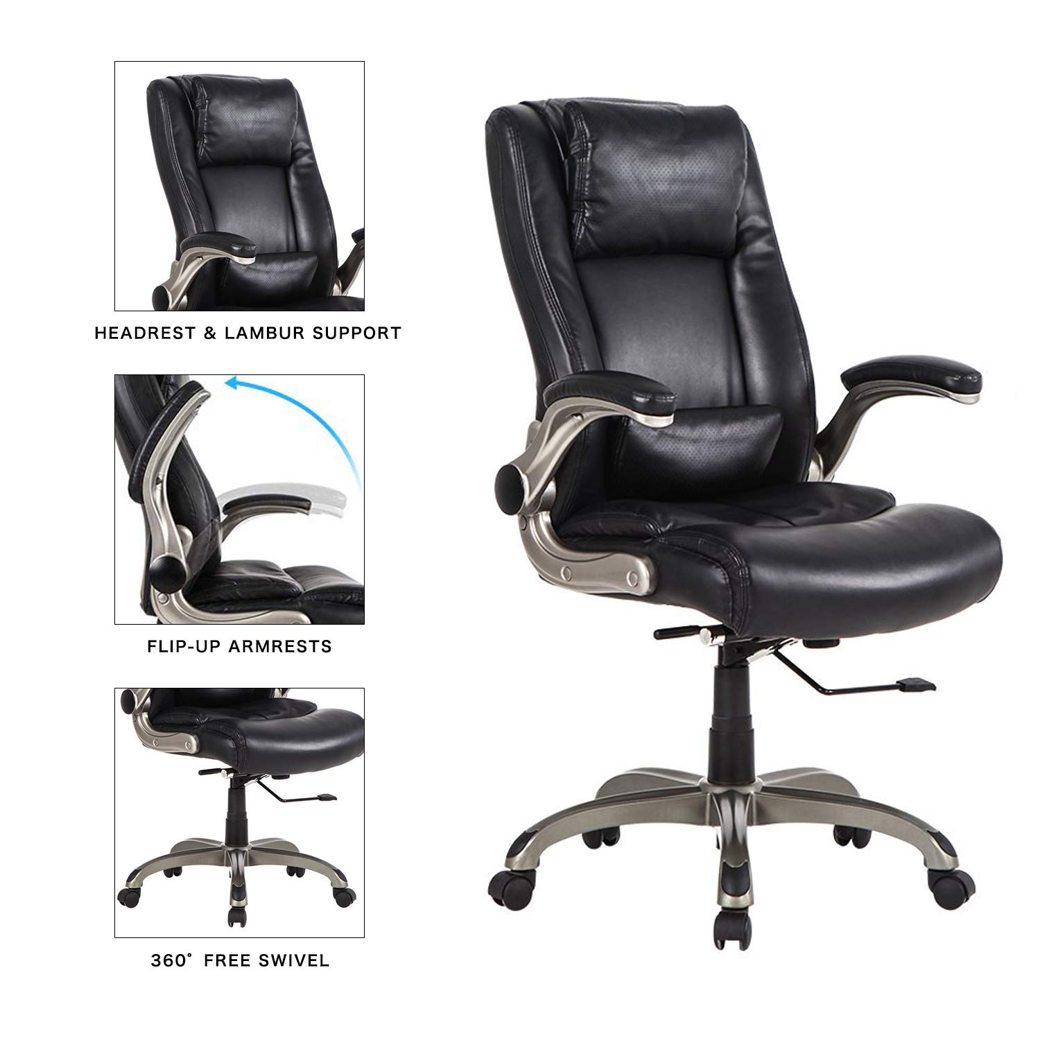 Amazoncom Lch High Back Executive Office Chair With Flip Up Arms