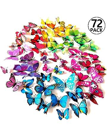 Foonii 72 Piezas 3D Mariposa Pegatinas de Pared Etiquetas Engomadas Mariposas Decoración de la Pared Para