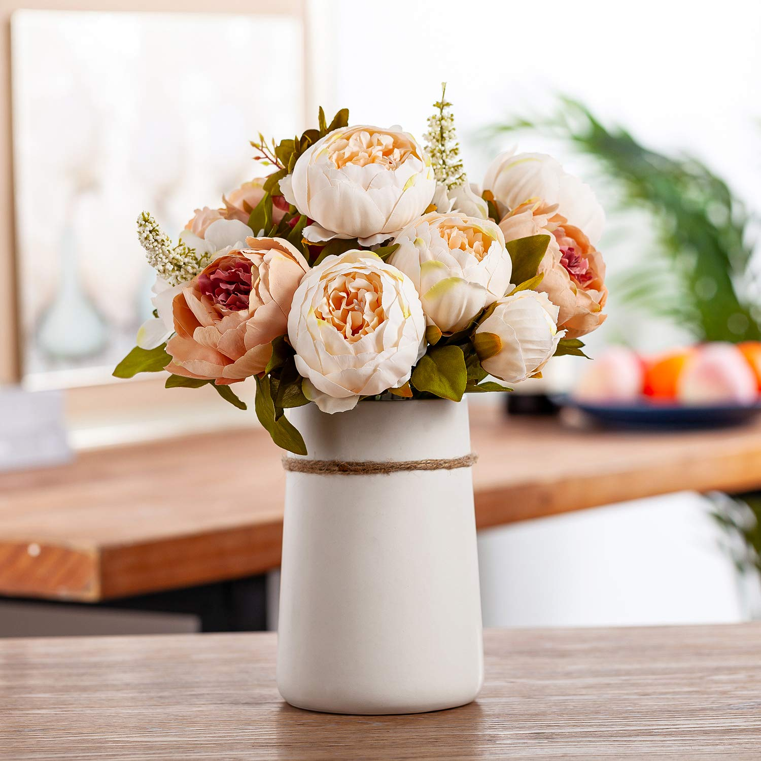 """QUEEN BEE Silk Peony Bouquet with Ceramic Vase Included Large Size 14"""" Indoor Outdoor Wedding Centerpiece Events Birthday Gift Bridal Baby Shower Floral Arrangement Artificial Fake Flowers (Champagne)"""